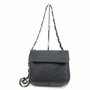 Bally Quilted Black Leather Chain Flap 870749